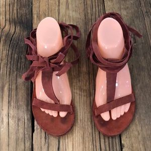 Free People Dahlia Bohemian Leather Tie Shoes 37